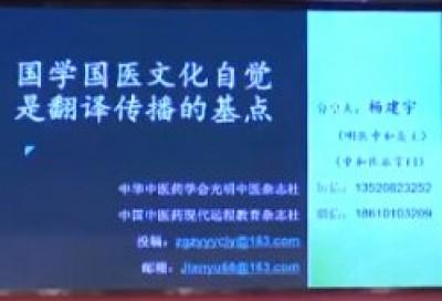 国学国医文化自觉是翻译传播的基点 - 杨建宇